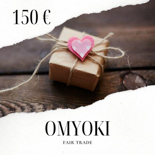 Tarjeta regalo de joyería de comercio justo 150 €