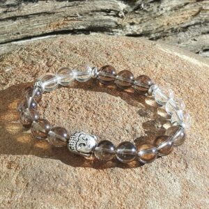 Bracelet detox en quartz fumé et cristal - Omyoki