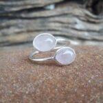 Bague ajustable quartz rose argent - Omyoki