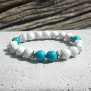 Bracelet en turquoise et howlite