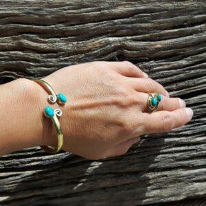 Bracelet jonc turquoise