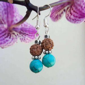 Boucles d'oreilles turquoise et rudraksha