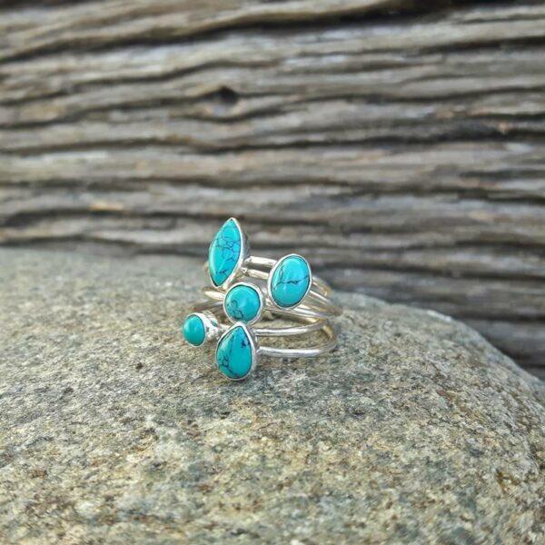 Bague anneaux multiples turquoise