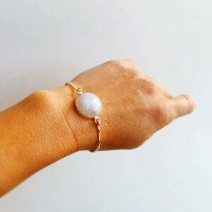 Bracelet jonc pierre de lune argent