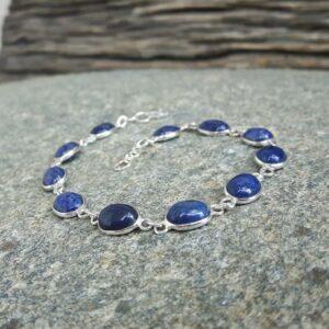 Bracelet lapis lazuli en argent