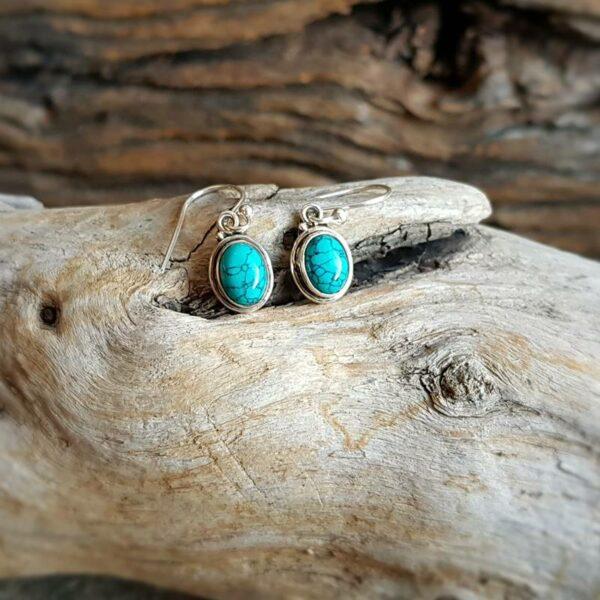 Boucles d'oreilles turquoise argent