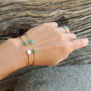 Jonc ouvert turquoise