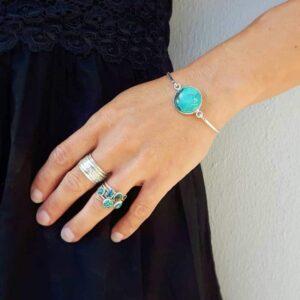Bracelet jonc turquoise argent NUDE