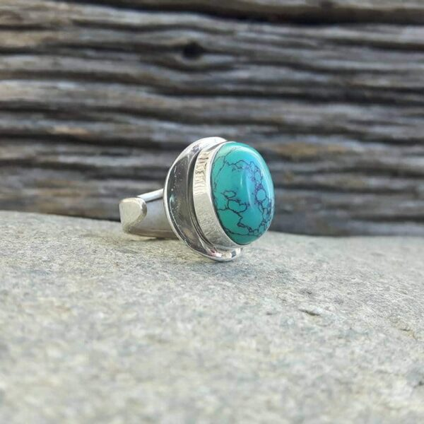 Silber Türkis verstellbarer Ring