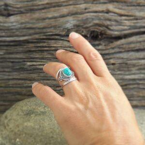 Bague ethnique turquoise