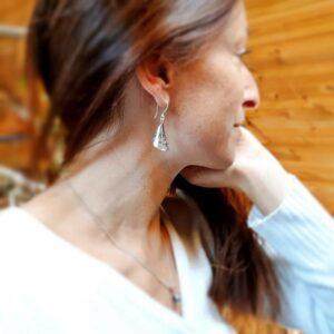 Boucles d'oreilles argent gravé