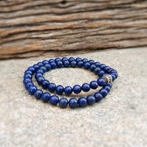 Bracelet homme wrap lapis lazuli