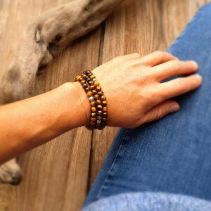 Bracelet mala en oeil de tigre