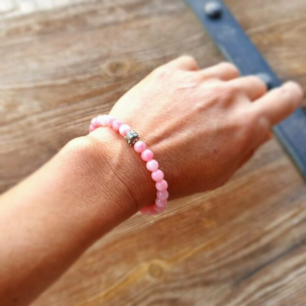 Bracelet mala en quartz rose