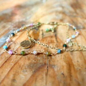Bracelet tourmaline multicolore or