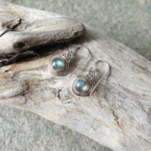 Boucles d'oreilles labradorite argent