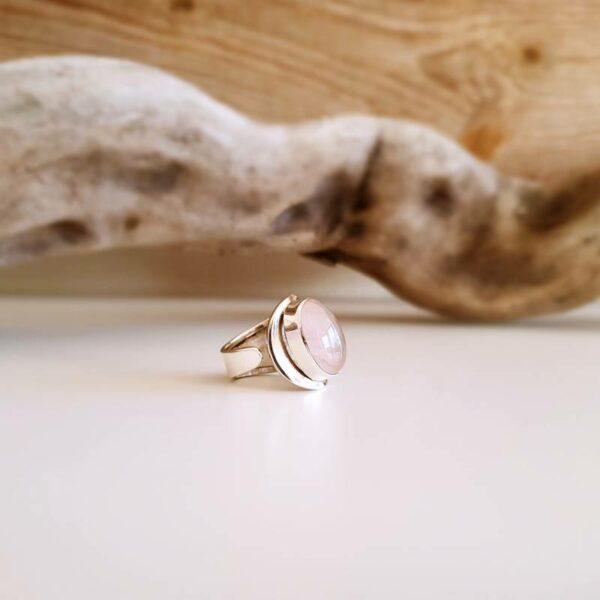 Bague ajustable quartz rose argent