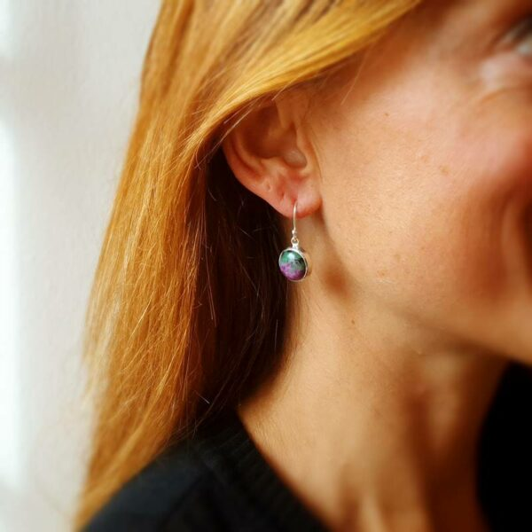 Boucles d'oreilles rubis zoïsite argent