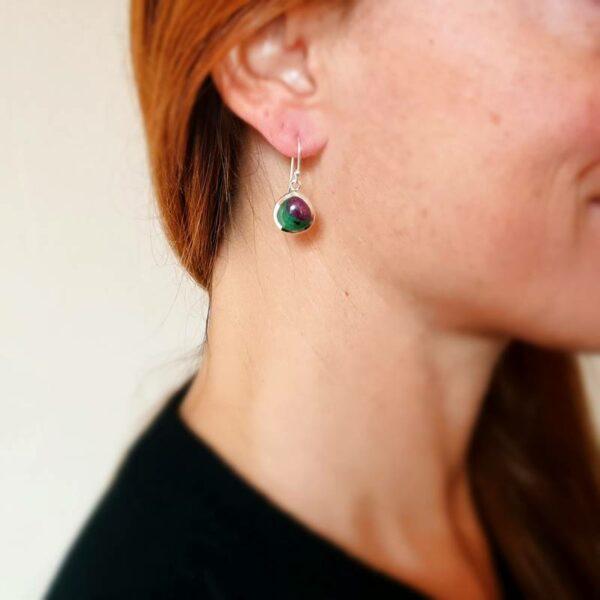 Boucles d'oreilles rubis zoïsite gouttes