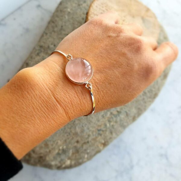 Bracciale LOVE argento quarzo rosa