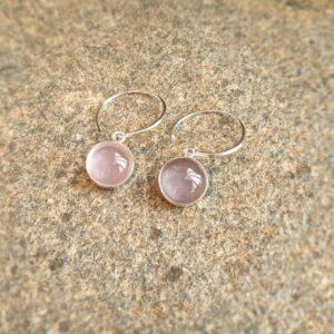 Créoles quartz rose argent