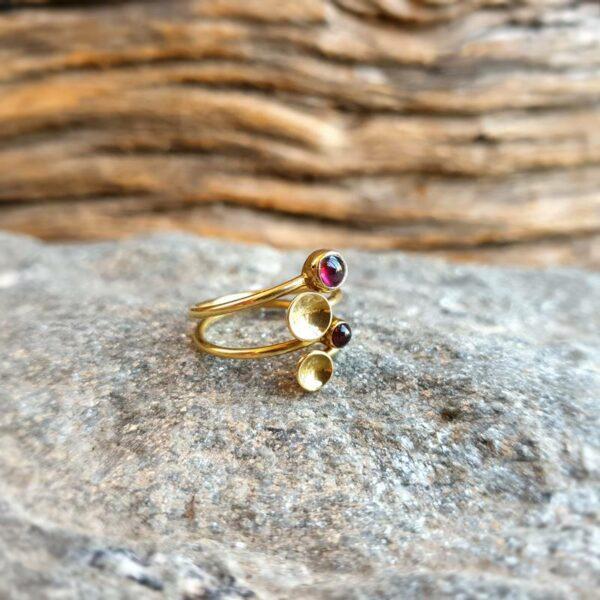 Goldgranat verstellbarer Ring