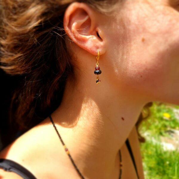 Boucles d'oreilles onyx et grenat SAMARKANDE
