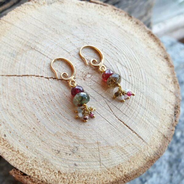 Boucles d'oreilles tourmaline multicolore KI