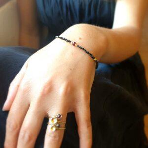 Bracelet onyx et grenat SAMARKANDE