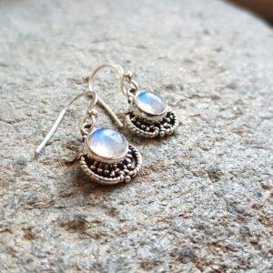 Boucles d'oreilles indiennes en pierre de lune